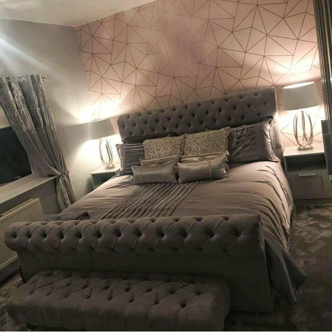 Modern Rose Gold Wallpaper Design Ideas Rose Gold Bedroom Gold Bedroom Bedroom Wall
