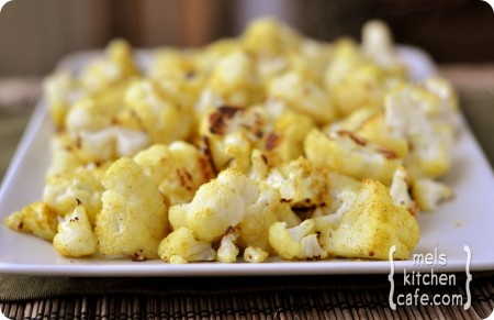 """roasted curried cauliflower """"popcorn"""".  Strong flavor"""