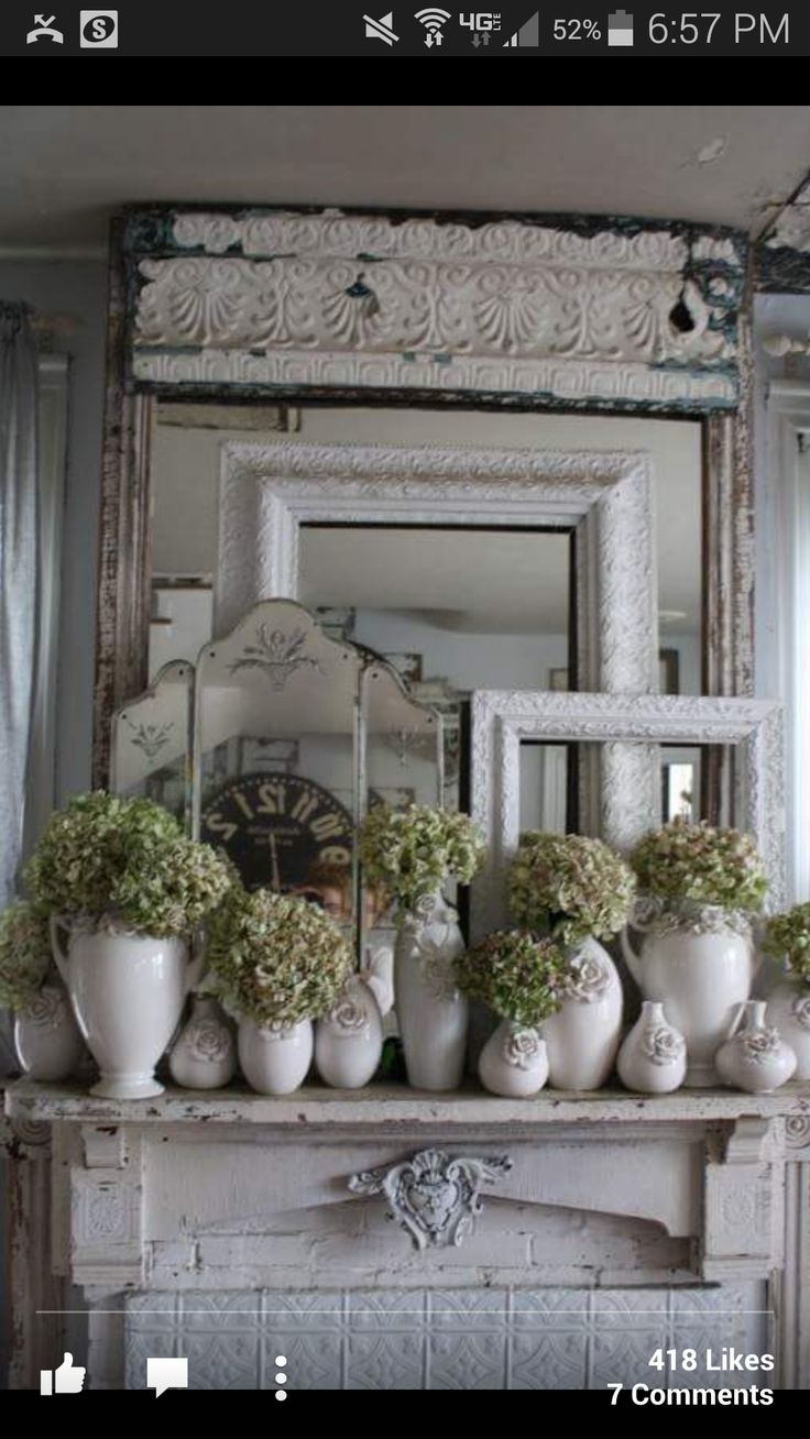 Mantel decor | Shabby chic | Pinterest | Inspiration