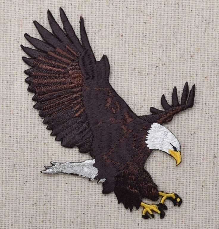 Iron On Embroidered Applique Patch Patriotic American Bald Eagle Landing