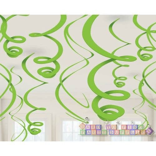 Kiwi Lime Green Hanging Swirl Decorations (12ct) || Hard To Find Party Supplies