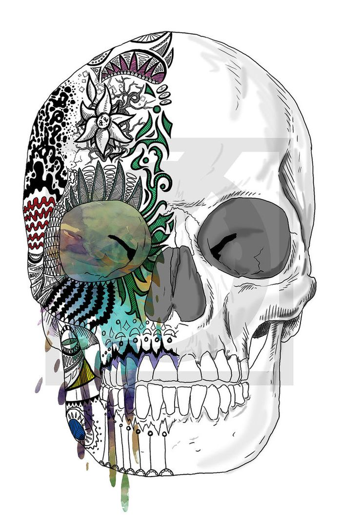 Candied skull drawing- love the mixture of charcoal and water color