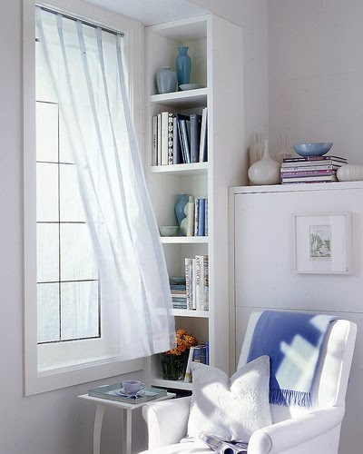 cantinho de leitura: Reading Corners, Ideas, At Home, Sheer Curtains, Window, Book, Reading Nooks, Reading Spaces