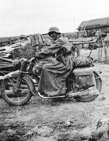 German Zundapp motorcyclist in the eastern front