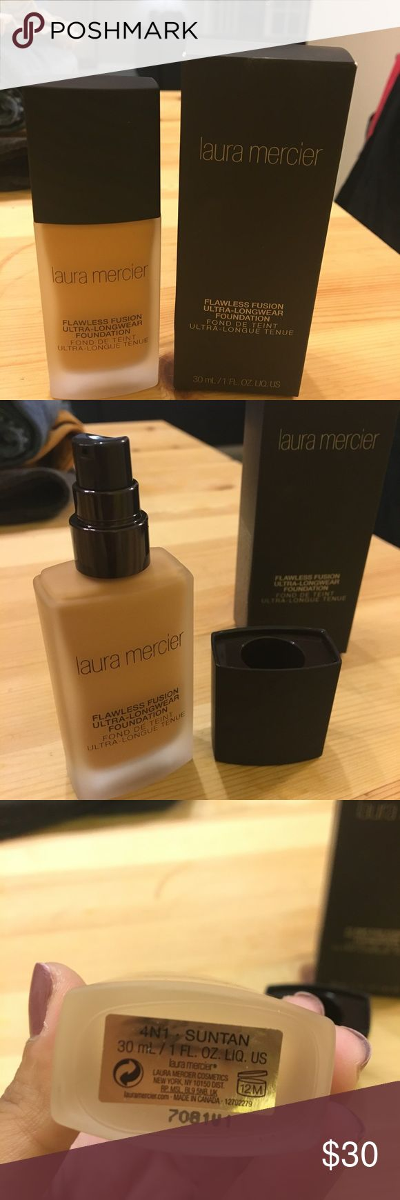 Laura Mercier Flawless Fusion Foundation FLAWLESS FUSION.   Ultra-Longwear Foundation.  A 15-hour long wearing, oil-free liquid foundation with a matte finish and weightless medium to full coverage.  Color: Sutan Laura Mercier Makeup Foundation
