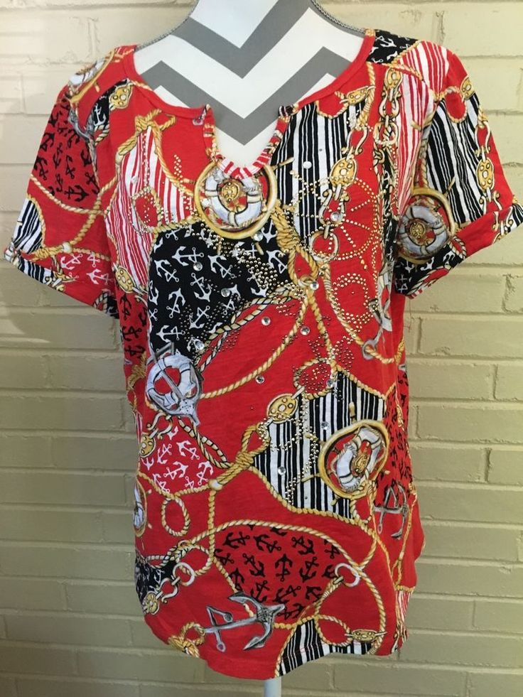 Red Nautical Short Sleeve Top by Thomas and Olivia Size Ladies XL | eBay