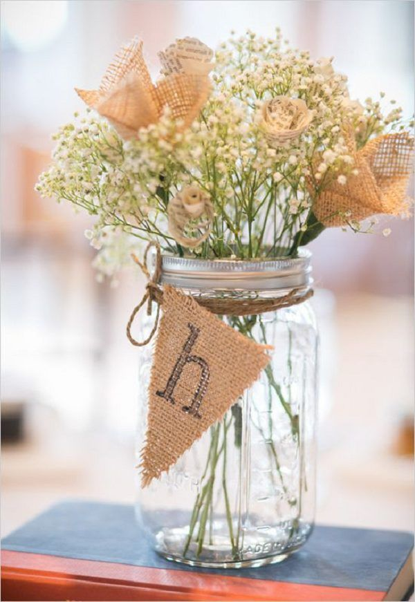babys breath and burlap in mason jar / http://www.deerpearlflowers.com/rustic-wedding-ideas-with-burlap-touches/