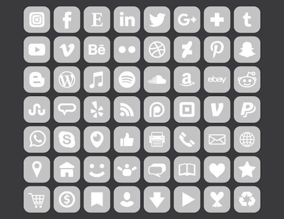 Square Gray Social Media Icons Set Png Svg Vector Transparent Rounded Corner Grey White Buttons Website Digital Icons Commercial Use Iconos De Los Medios Sociales Conjunto De