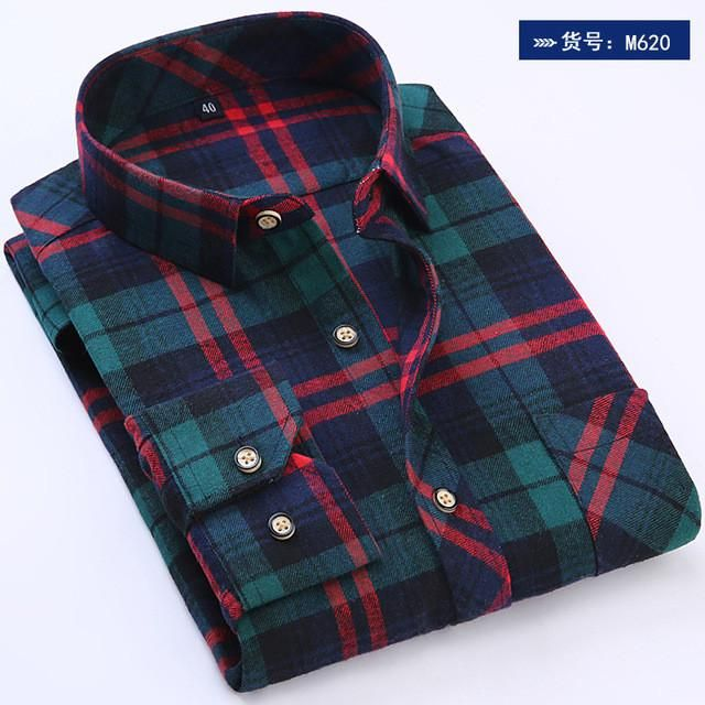 Men Plaid Shirts 2017 New Autumn Luxury Slim Brand Formal Business Fashion Dress men's casual long Sleeve Shirts