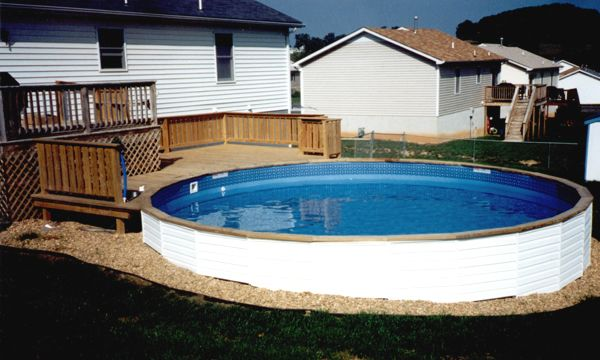 21 best swimming pool images on pinterest above ground for Half in ground pool ideas