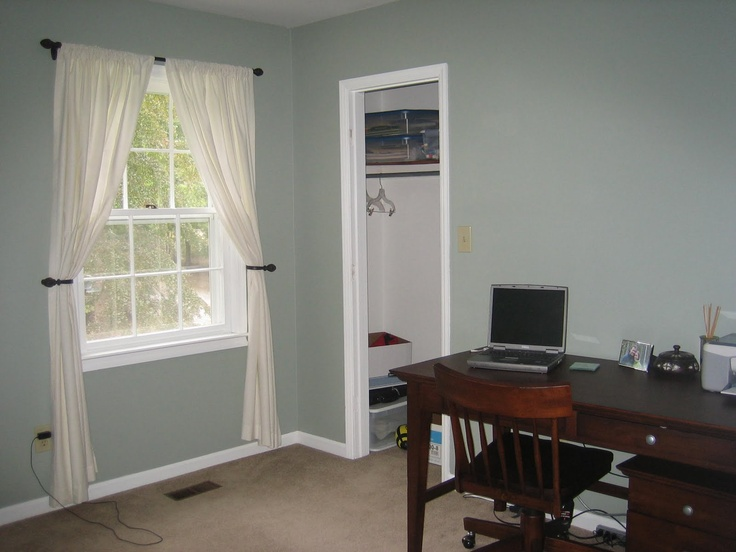 Sherwin Williams Oyster Bay - changes from green to blue to grey depending on the light. Love it!