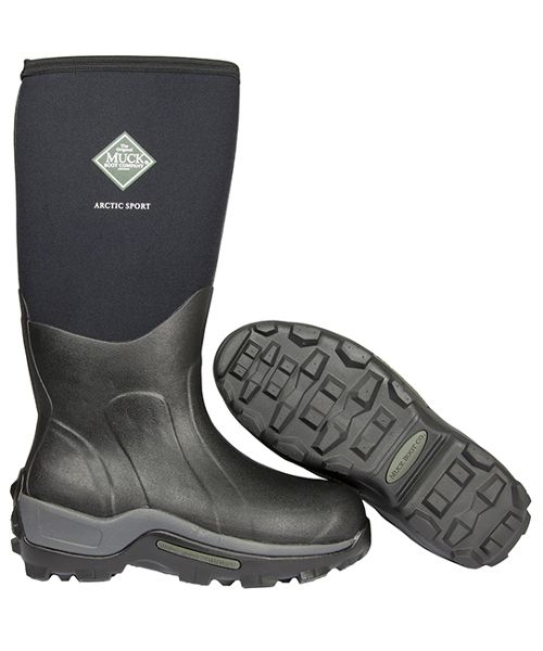 The Muck Boot Arctic Sport in black comes with 8mm of neoprene and a fleece lining making it one of the warmest wellies we have in stock. Warm air is kept in and cold air kept out by a stretch-fit bootie. Your feet are kept comfortable on an EVA moulded sole with 2mm of foam underlay. While you will be comfortable the boot is reinforced over the toe, instep, heel and Achilles areas so you will also be protected from unwanted scuffs and scrapes.      100% Waterproof     Stretch fit top-line…