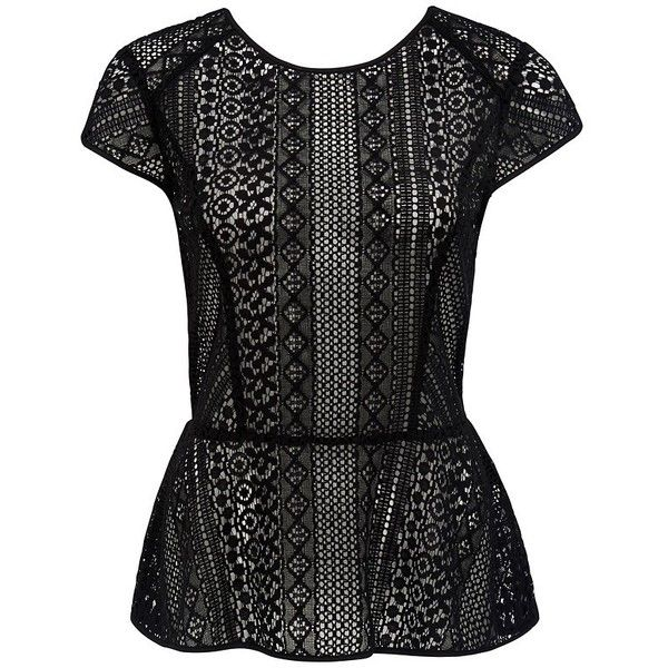 Forever New Jacquetta lace peplum top (14 BHD) ❤ liked on Polyvore featuring tops, black, keyhole top, black top, see through tops, stripe top en black cap sleeve top