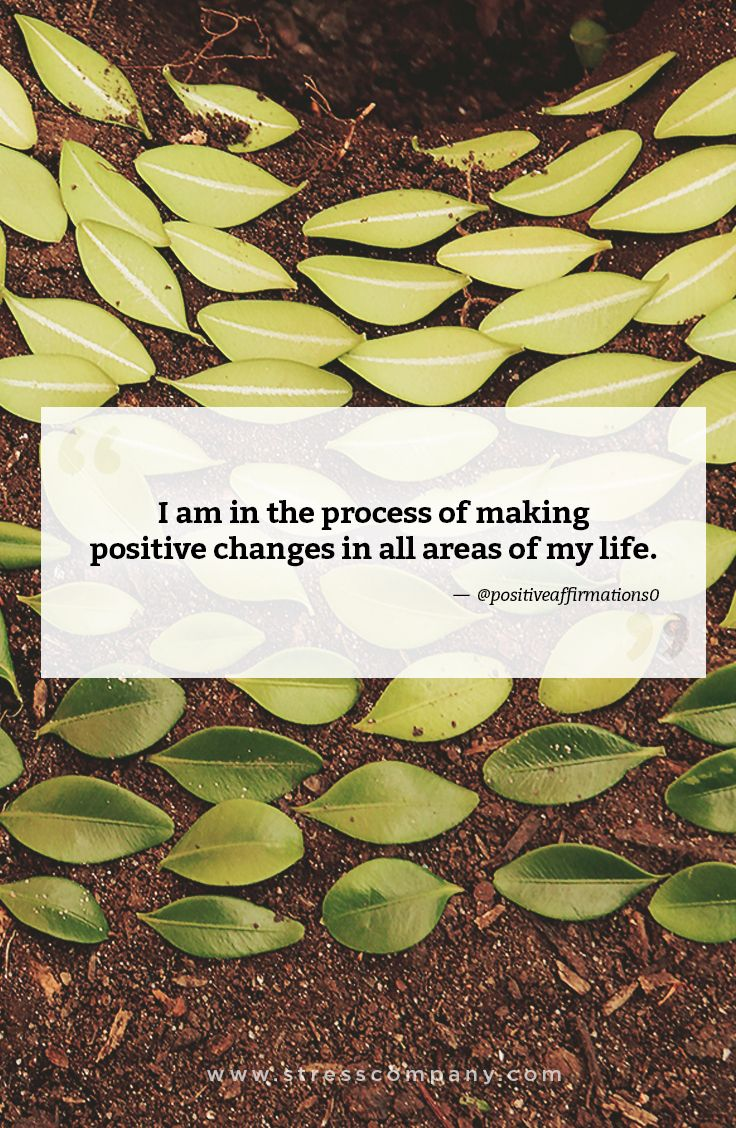 I am in the process of making positive changes in all areas