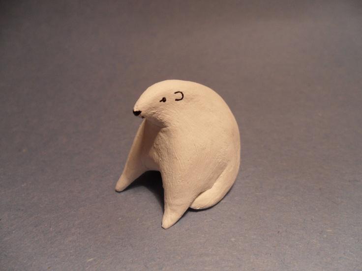 Lazy Mr Polar Bear - winter - decoration - hand painted - clay animal