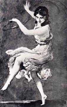 """Painting of Isadora Duncan  by Fritz August von Kaulbach from  """"Isadora Duncan, The Art of the Dance""""  Courtesy Theatre Arts Books."""