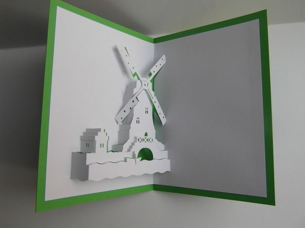 Pop-Up-Karten - Pop up Karte - Windmühle-Holland - ein Designerstück von Bastel-Preussin bei DaWanda
