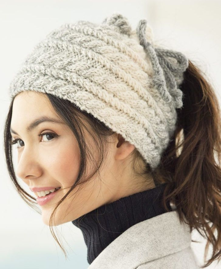 Free Knitting Pattern for Cabled Bun Hat - Cable hat knit flat with a drawstring top opening for messy bun or ponytail. Designed by Lion Brand Yarn