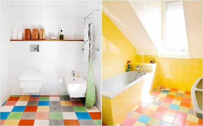 Радужный пол в ванной