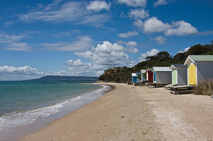 Boat sheds on Tyrone foreshore, Rye, Mornington Peninsula, Victoria, Australia
