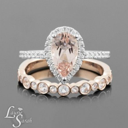 Pear Cut Ring, Pink Morgniate Engagement Ring, Wedding Rings, Diamond White gold Engagement ring, Wedding set - LS3086
