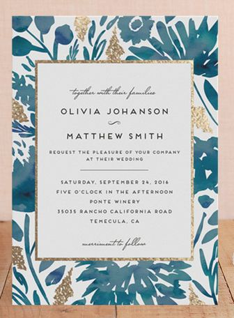 I love the blue and gold colors of this invitation design. It has a romantic feel in the pattern but a modern look in the type.