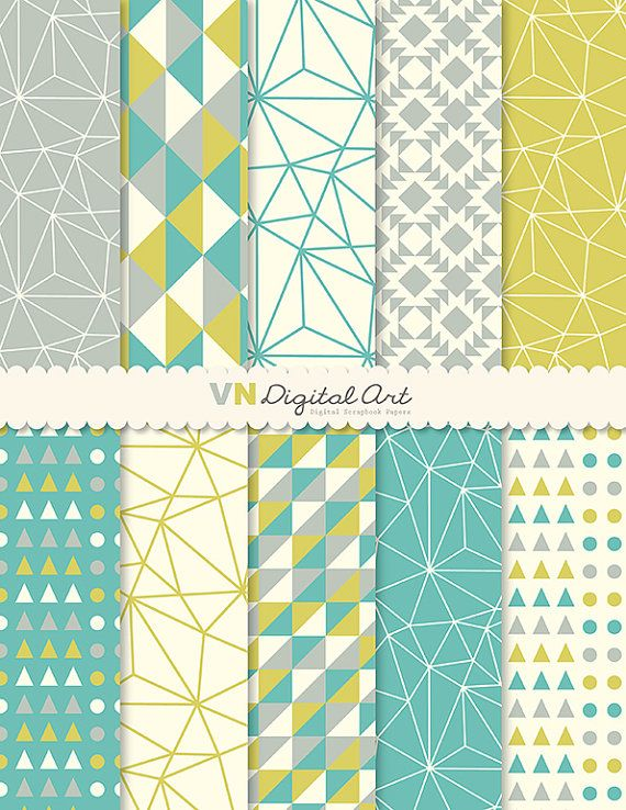 Digital Paper Instant Download Geometric Digital by VNdigitalart, $3.00