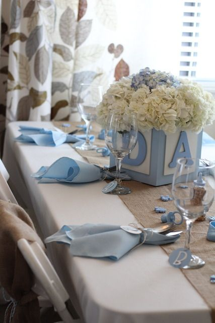 Shabby Chic Boy / Baby Shower.  Love the abc block centerpiece.  Could even do cake/cupcake tower using assorted size blocks