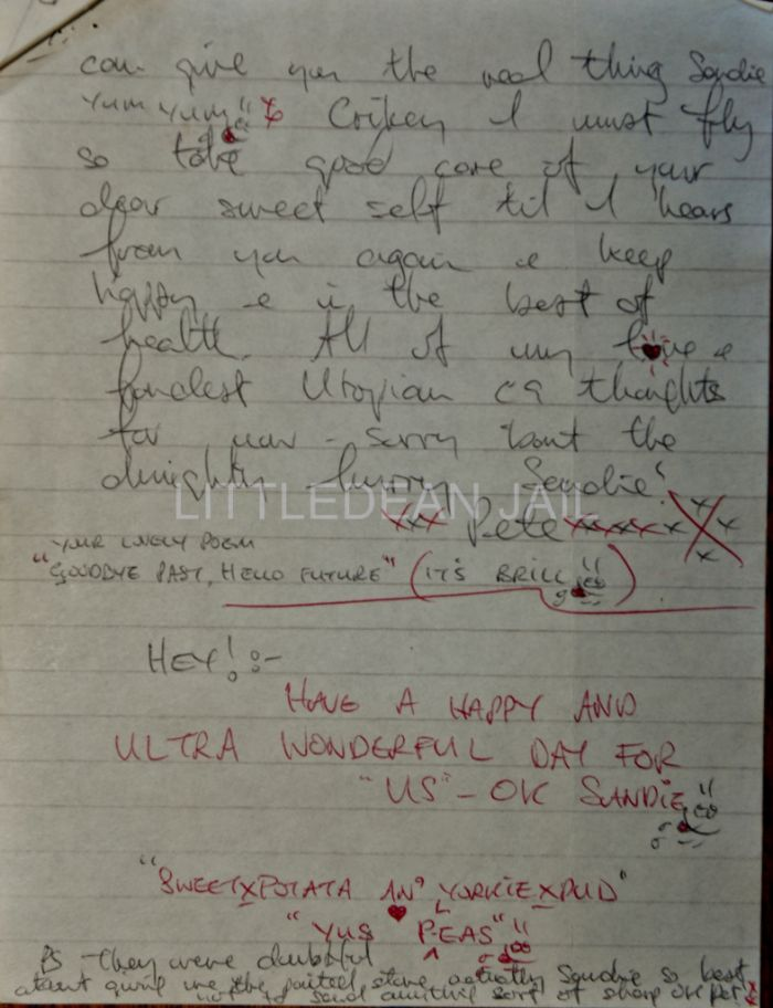 """Letters from Peter Sutcliffe (the Yorkshire Ripper) to his friend and confident Sandra Lester , who went on to right a book about Sutcliffe entitled """"The Ripper Unmasked"""""""