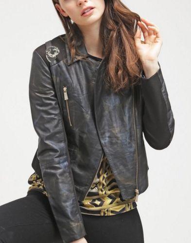 Versace Jeans Kurtka skórzana ramoneska black
