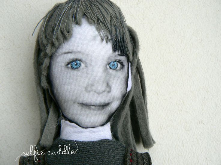 personalised handmade fabric doll with printed face, face detail, embroidered eyes