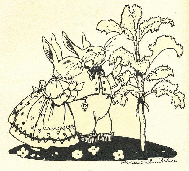 Nora schnitzler, ill p 12, via Flickr. Rabbit couple admiring lettuce
