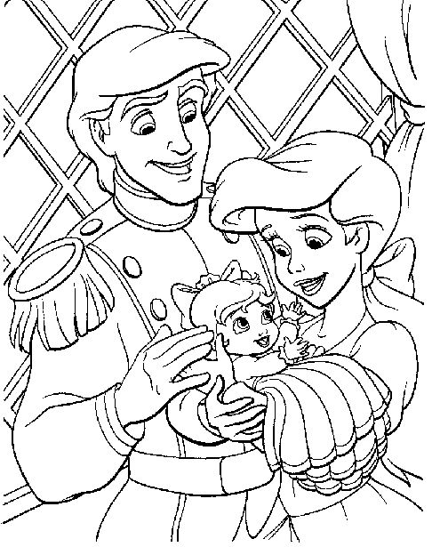 small family of eric and ariel coloring pages - Coloring Pages Ariel A Dress