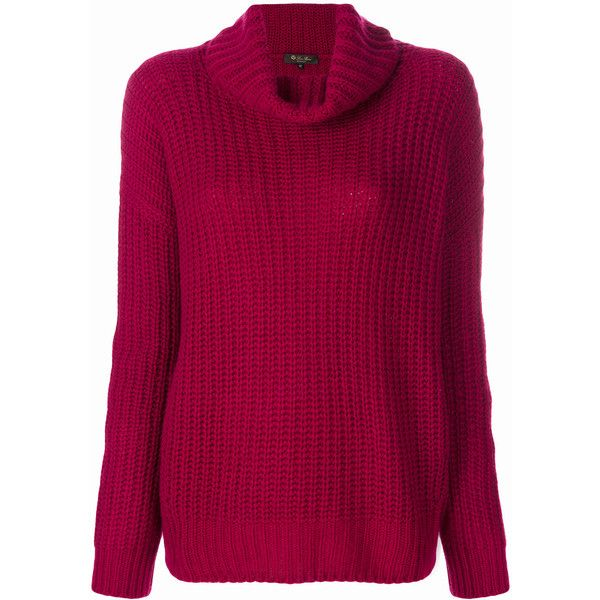 Loro Piana chunky knit roll neck jumper ($1,486) ❤ liked on Polyvore featuring tops, sweaters, red, pure cashmere sweaters, chunky-knit sweaters, purple jumper, purple sweater and purple top