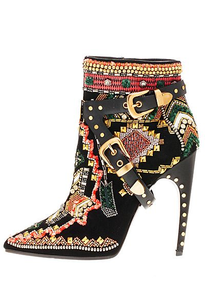 Emilio Pucci Multicolor Embroidered Ankle Boots Fall Winter 2014 #Shoes #Heels #Buckled