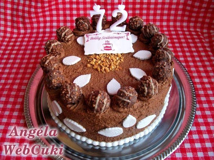 A édesanyám 72. szülinapjára, ezt a Ferrero Rocher tortát sütöttem.