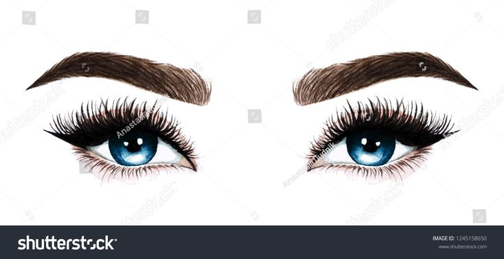 Woman eyes with long eyelashes. Hand drawn waterco…