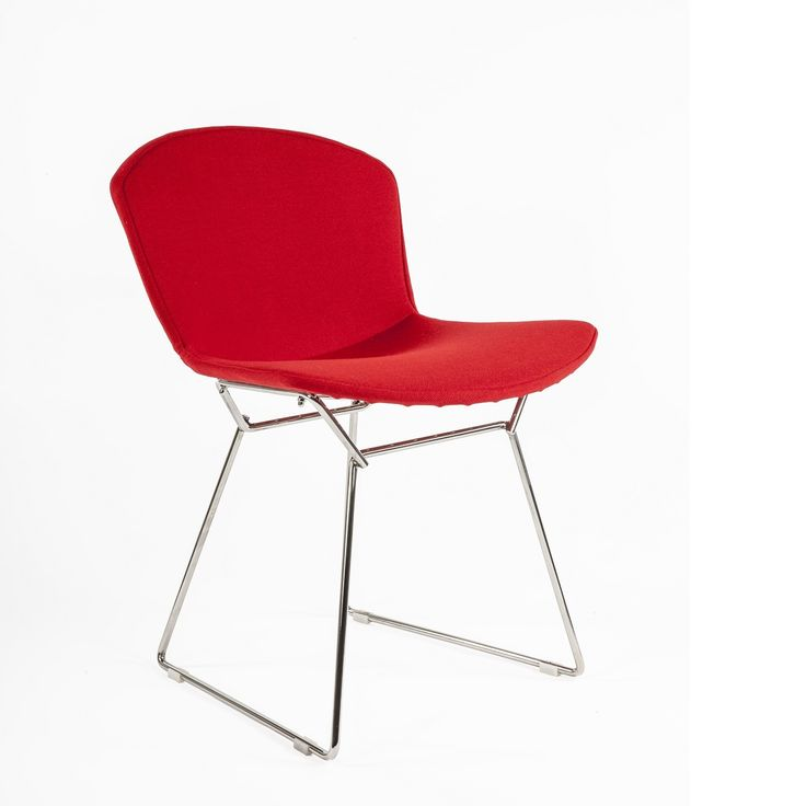 bertoia wire side chair with full red wool upholstery mid century modern dining chair replica