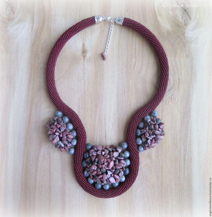 Bead rope necklace | Купить Колье из бисера, родонита и картографической яшмы - колье из бисера, подарок женщине, подарок девушке