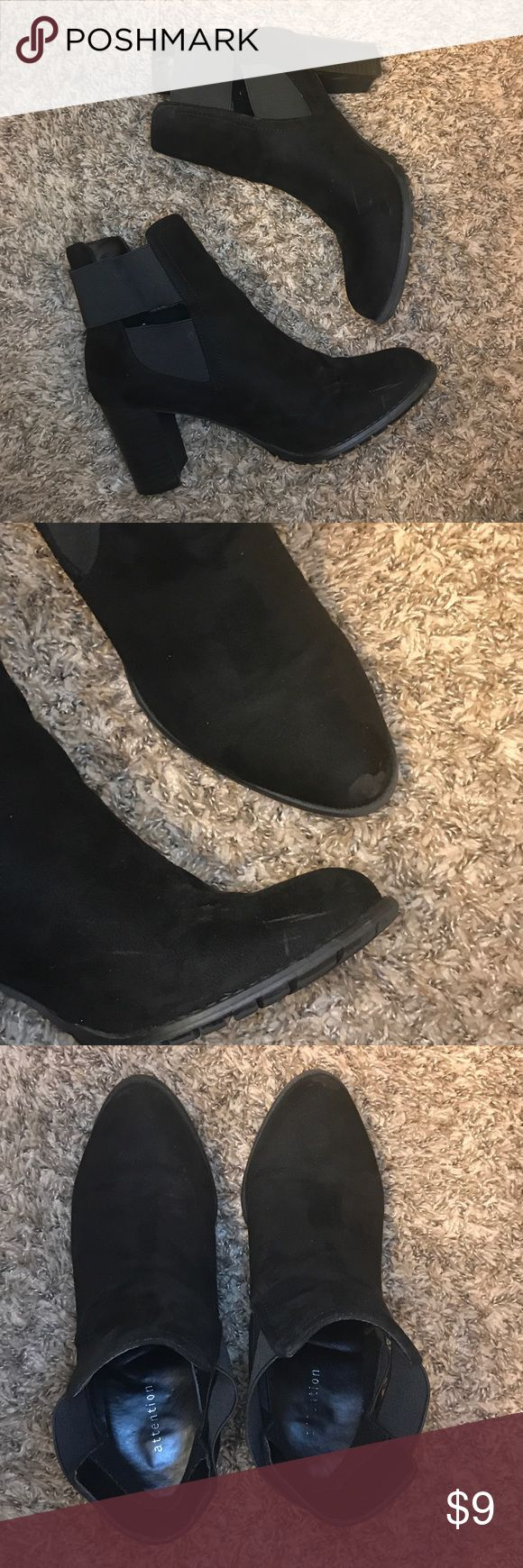 Black booties block heel 8 Women's ok condition Good condition, there is a couple scratches and tad scuff but should be able to be fixed easily I would think. A little big for me. These are from Kmart. 🙂Smoke & pet free home 👍bundle discounts 🗯offer button plz ⭐️Fast Shipping ⭐️5 star ratings attention Shoes Ankle Boots & Booties