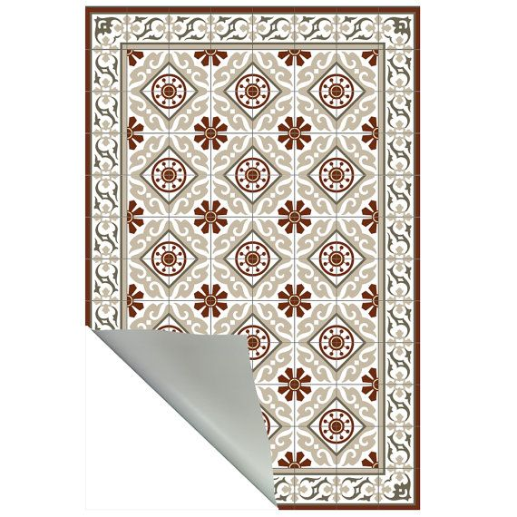 PVC vinyl mat Tiles Pattern Decorative linoleum rug by videcor