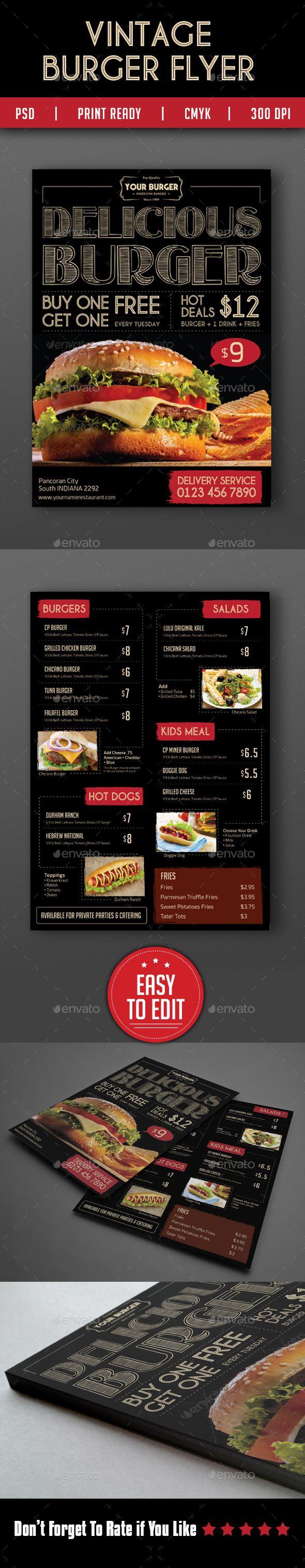 GraphicRiver Vintage Burger Menu Flyer 13542479