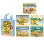 All of our favourite sunny-coloured earthmover's adventures in one gorgeous collectible gift bag! The little digger working next door gets stuck in the mud so the workmen bring in a bigger digger, but it too gets stuck in the mud, so they bring in a bigger, bigger digger.