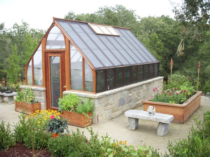 10x16 tudor greenhouse on masonry base