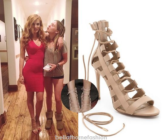 Bella Thorne wears these Aquazzura Amazon Lace-Up Sandals to Tristian Klier's Homecoming