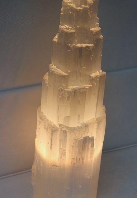 Selenite Tower Lamp 40cm