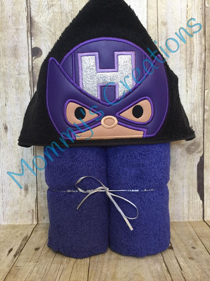 """Stack Stack Arrow Hero Applique Hooded Bath, Beach Towel Cover Up 30"""" x 54""""  Personalization Available by MommysCraftCreations on Etsy"""