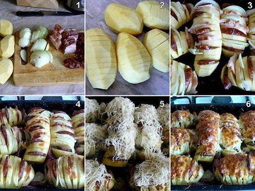 Zdjęcie: Pieczone ziemniaczki  Ziemniaki obierz i ponacinaj nożem w kilkumilimetrowych odstępach Stop masło i posmaruj nim ziemniaki. Zostaw trochę masła w płaskiej żaroodpornej formie poukładaj ziemniaki jeden obok drugiego. Posyp solą dodaj boczek oraz cebulę a następnie piecz 30 minut. Teraz posyp tartą bułką i skrop resztą masła, zapiekaj kolejne 10 minut Teraz wyłącz piekarnik ziemniaki posyp parmezanem i pozostaw w piekarniku na 5 minut  Zapiekać w piekarniku rozgrzanym do 180 stopni…