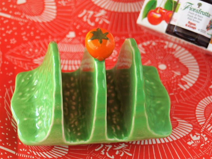 A Vintage Carlton Ware toast rack. Vibrant green china topped with a little orange, perfect for your toast and marmalade at breakfast! c1950 by Alexsprettyvintage on Etsy