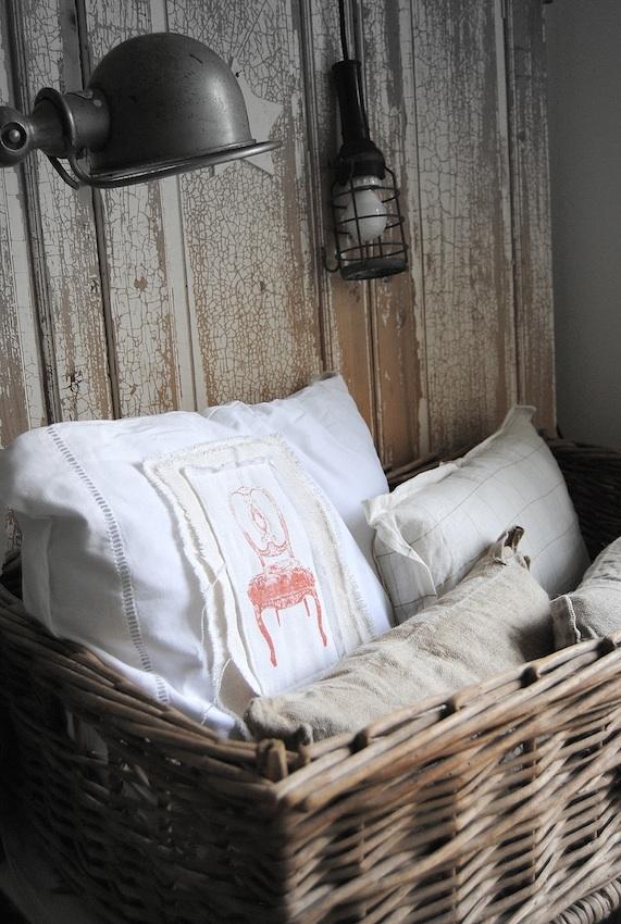 Brocante, déco vintage industrielle campagne, coussins lin chanvre